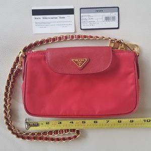 Authentic Red Tessuto/ Saffiano Prada Bag